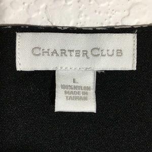 Charter Club Tops - Charter Club B&W Faux Wrap V-Neck Top Sz L EUC